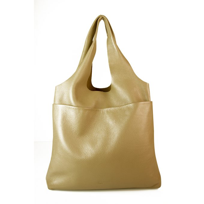 Jil Sander Taupe Pebbled Leather Open Top Shoulder Bag Hobo Handbag