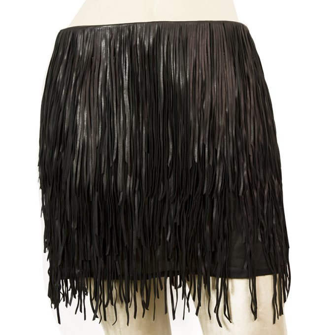 Jean Claude Jitrois 100% Black Lambskin Leather Fringe Mini Skirt Size 36