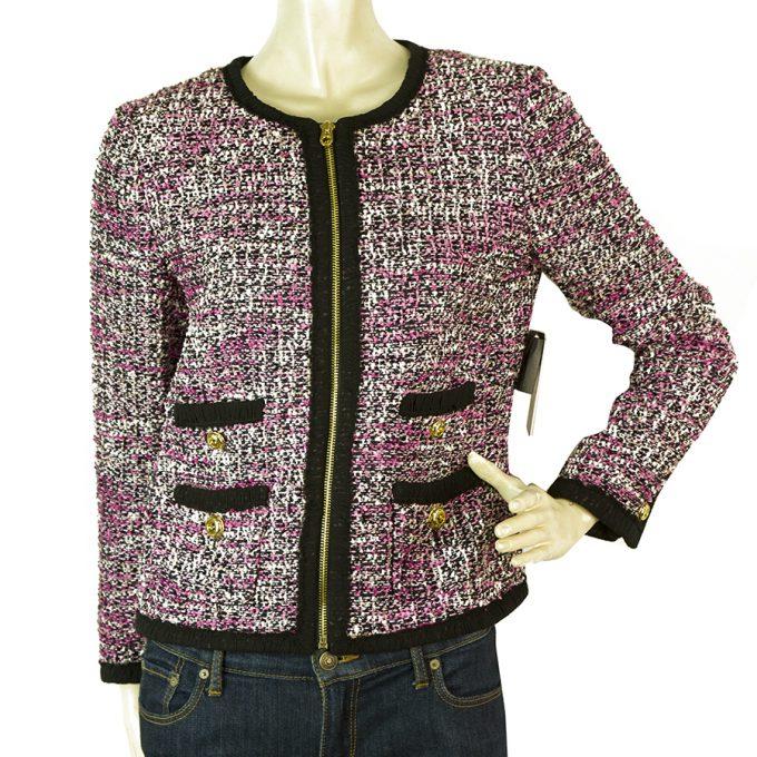 Juicy Couture Clara Pink Black Tweed Short Zipper Front Jacket size 6