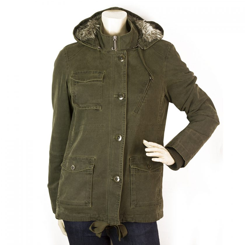 Juicy Couture Khaki Army Green Military Cotton Midi Hooded Jacket Coat size M