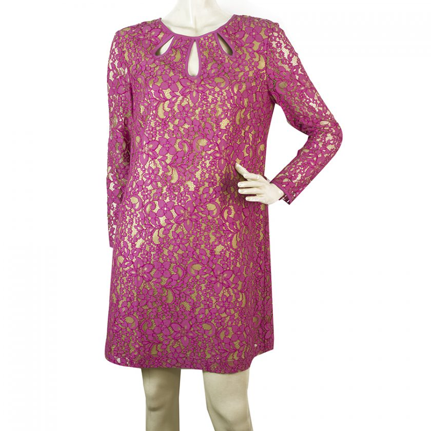 Juicy Couture Mini Pink Lace w. Gold Lining Long Sleeves Mini Dress Size 4