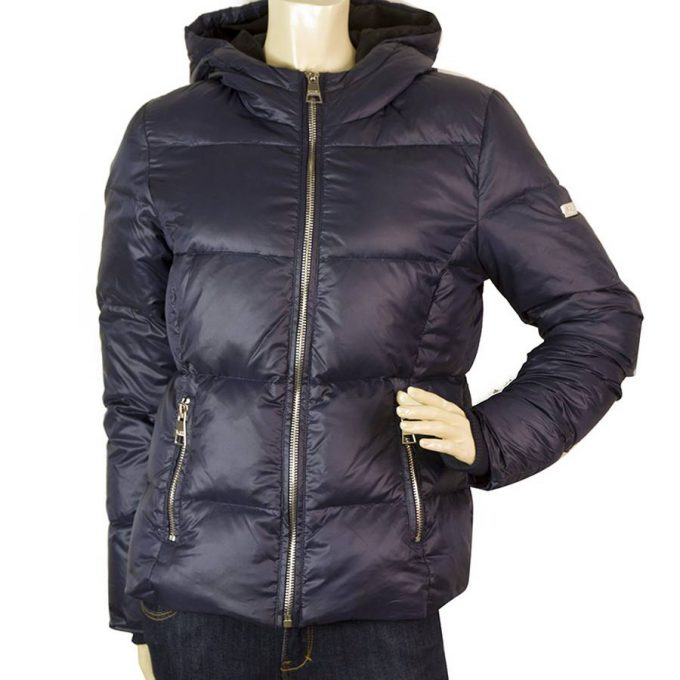 Karl Lagerfeld Blue quilted Down feather Puffer Winter Hooded Jacket size S