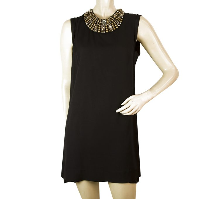 Lanvin Black Brass Tone Beads Crystals Bib Embellished Beaded Mini Dress sz 38Lanvin Black Brass Tone Beads Crystals Bib Embellished Beaded Mini Dress sz 38