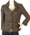 Les Copains Brown & Blue Alpaca Wool Tweed Short Button Front Jacket size 42