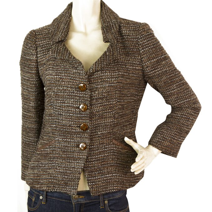 Les Copains Brown & Blue Alpaca Wool Tweed Short Button Front Jacket size 42