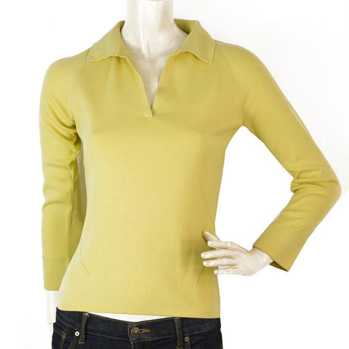 Loro Piana Yellow Long Sleeve V Neckline Collar Top Blouse size 42