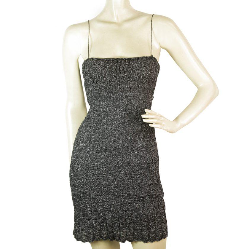Missoni Silver Metallic Knitted Spaghetti Straps Sexy mini dress IT size 40