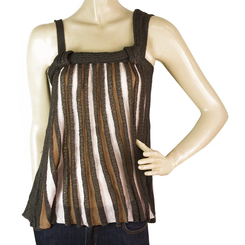 Missoni Beige Gray Striped Sleeveless Knit Blouse Top Sz 38 IT