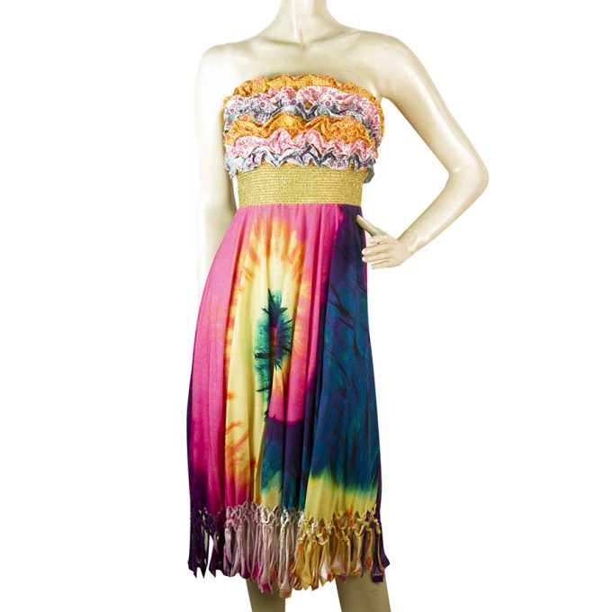 Manoush Multicolored Ruffles Bust Strapless Tie Dye Fringes Knee dress size 38