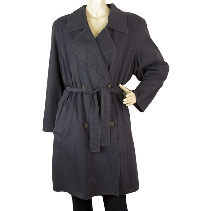 Marella Woman's Belted Blue Cotton Trench Double Brusted Jacket Coat sz US 6
