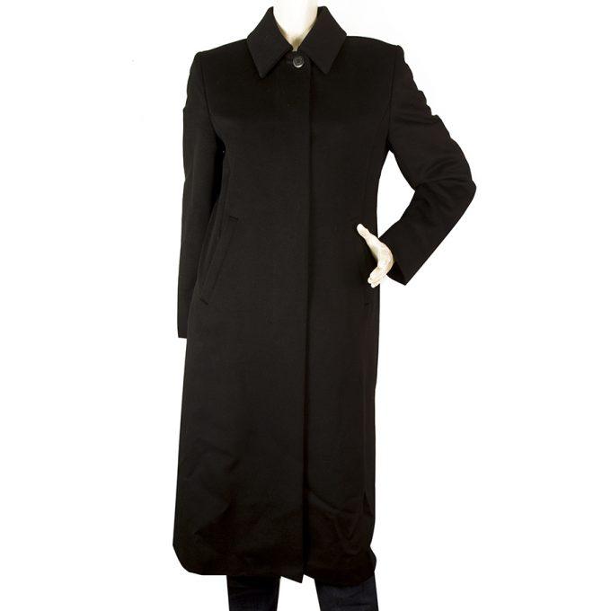 Max Mara Black Virgin Wool Below Knee Long Length Classic Coat size petit 6