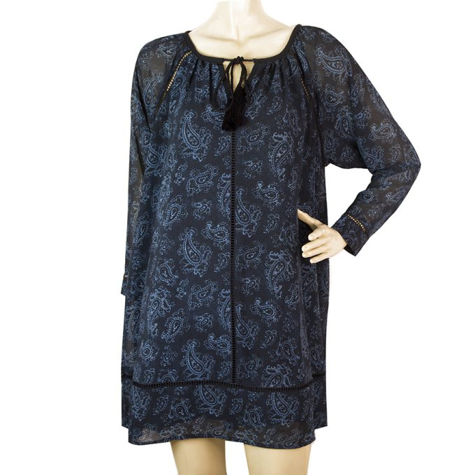 Michael by Michael Kors Blue Black Paisley Printed Long Sleeve Mini Dress sz XXS