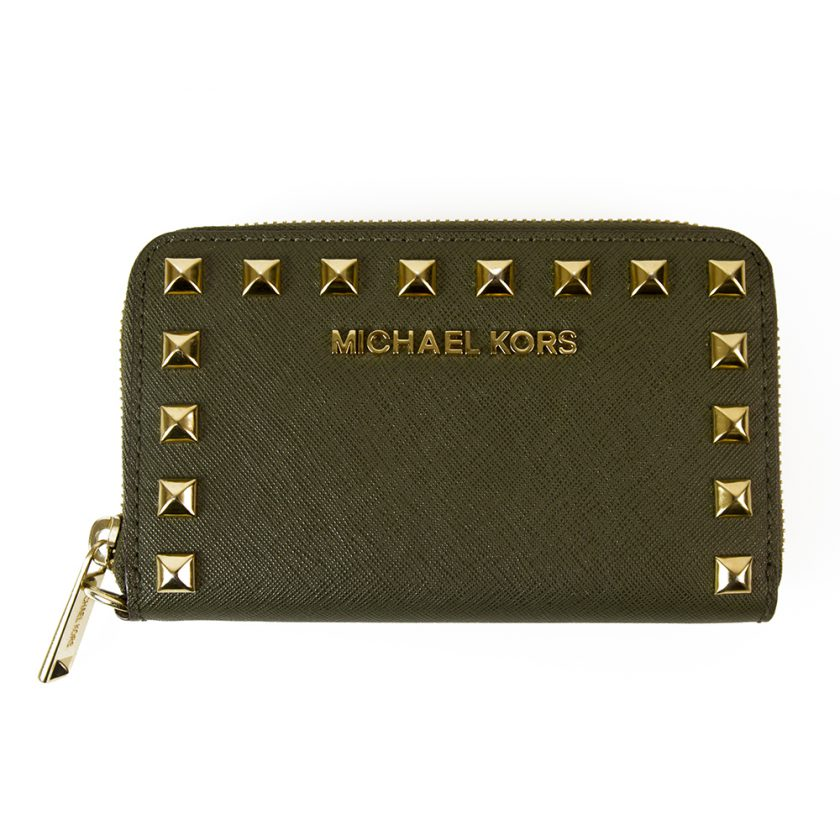 Michael Kors Khaki Green Canvas Pyramid Gold Tone Studs Zipper Medium Wallet