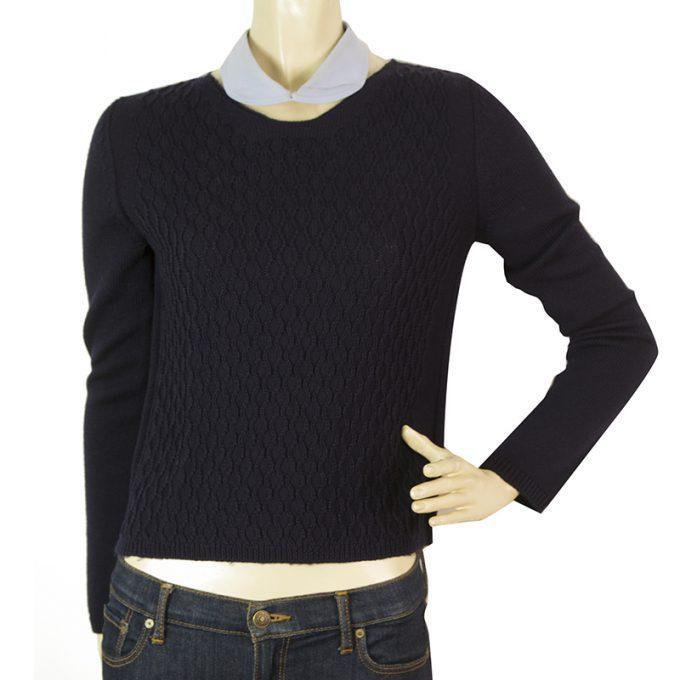 Miu Miu Blue Wool Peter Pan Collar Long Sleeve Knit Top Sweater Blouse Sz 40