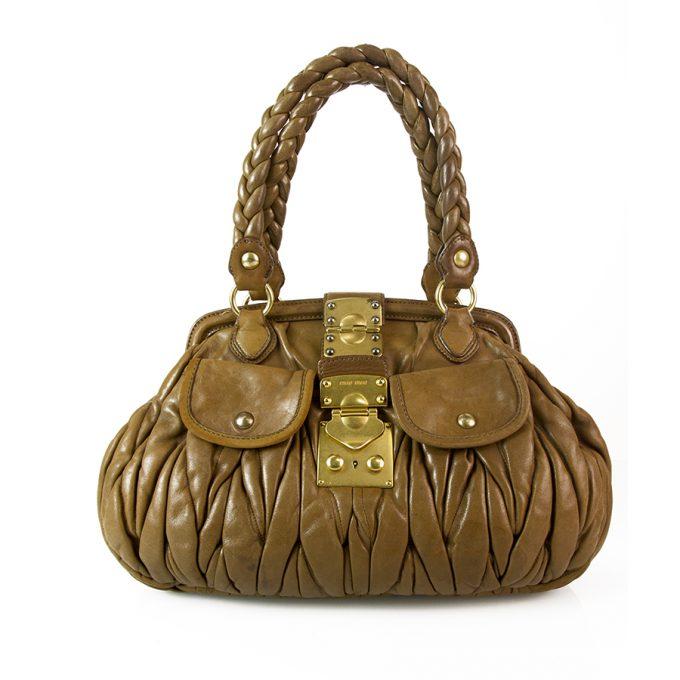 Miu Miu Taupe Vitello Lux Calfskin Wrinkle Leather Gathered Shoulder Bag Handbag
