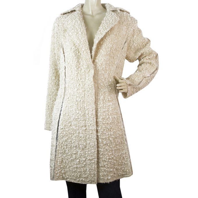 Nina Ricci Off White Ecru Wool Blend Boucle Gold Thread Button Front Coat sz 38