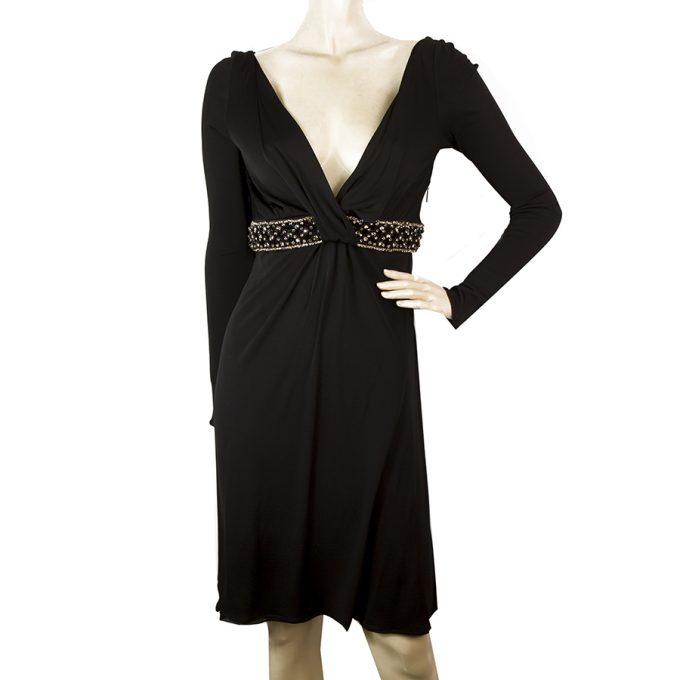 Roberto Cavalli Black Beads Crystals Open Back Beaded Waist Mini Dress sz 42
