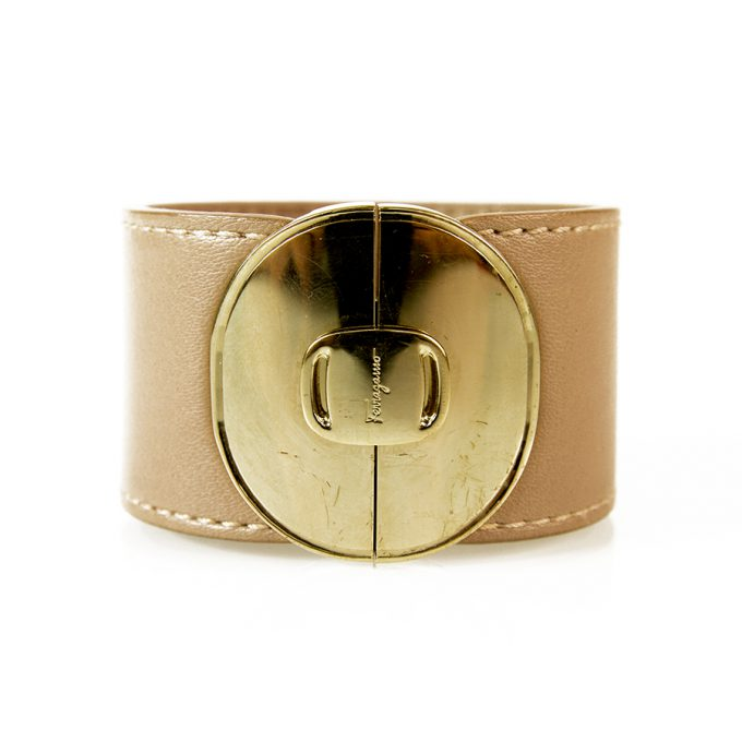 Salvatore Ferragamo Beige Leather with Gold Tone hardware Wide Bracelet Cuff