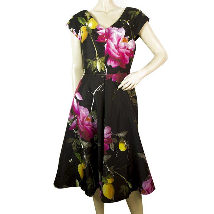 Ted Baker Citrus Bloom Floral Printed Black A Line Knee Length Dress sz 2