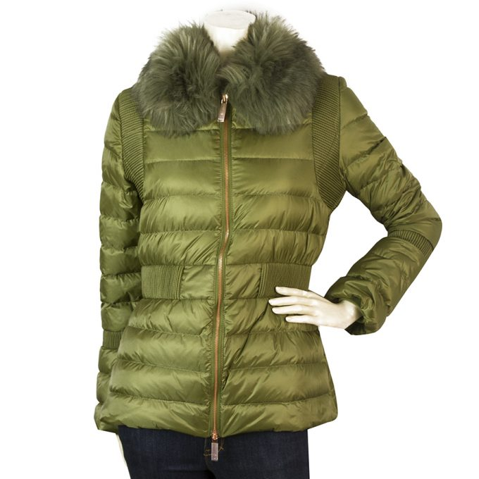 Ted Baker Khaki Green Quilted Puffer Winter Fur Collar Fitted Jacket size 2 (s)