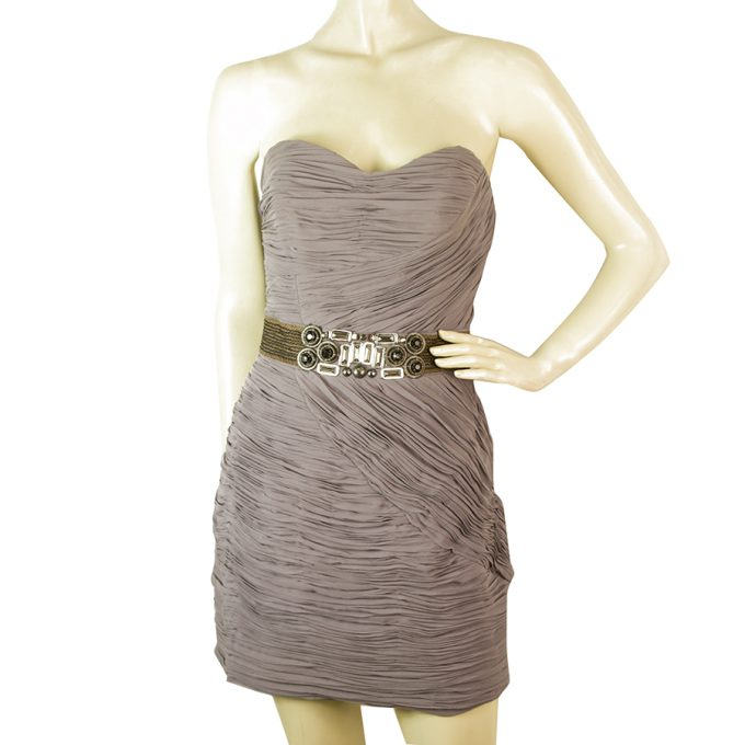 Ted Baker Gray Draped Strapless mini Embellished Beaded Waist Dress size 3