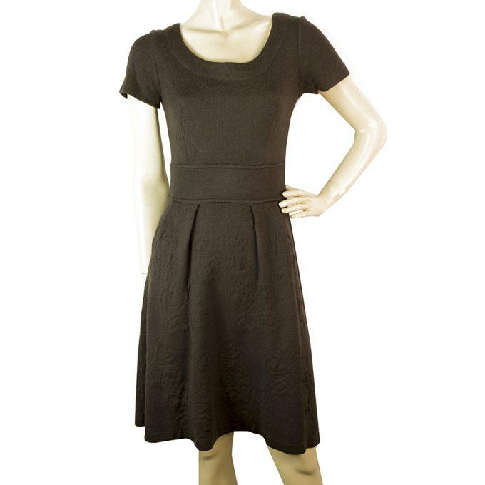 Twin Set Simona Barbieri Brown Jacquard Wool Knit Short Sleeves Knee Dress sz S