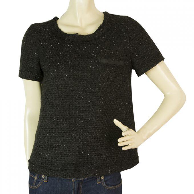 Twins Black Metallic Shiny Short Sleeve back Zipper Top Blouse size S