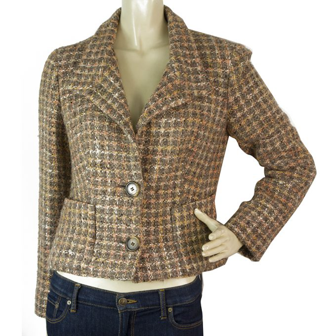 Xandres Beige Peach & Brown Tweed Short Button Front Jacket size 36