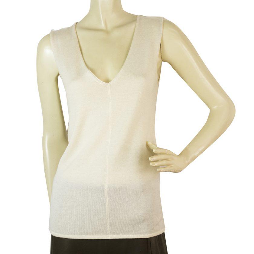 Yves Saint Laurent Cream Off White Silk Cashmere Sleeveless knit blouse size S