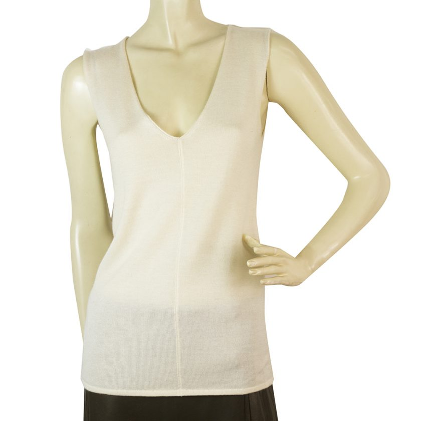 Yves Saint Laurent Cream Off White Silk Cashmere Sleeveless knit blouse size M
