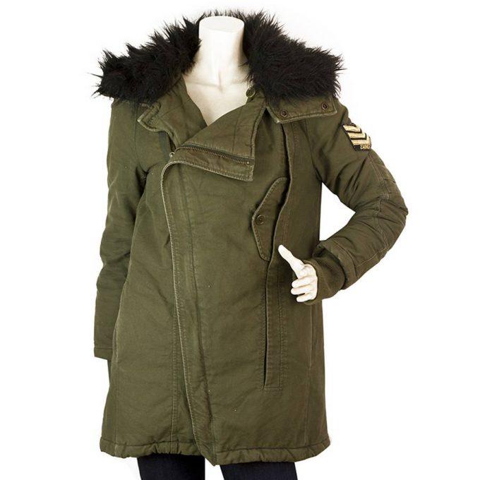 Zadig & Voltaire Kily OP Khaki Army Green Military Cotton Midi Jacket Coat sz XS